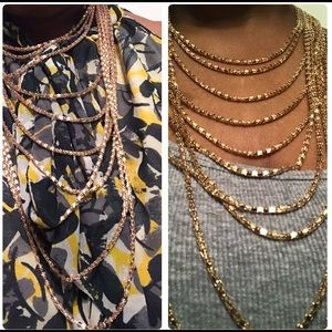 Ashley Stewart Layered Gold Tone Necklace Earring